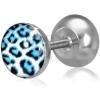 Kerek fake plug sebészeti acélból, kék leopárd minta