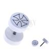 Fehér fake piercing akrilból - kerek, máltai kereszt körvonala