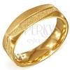 Szögletes arany színű acél gyűrű - szemcsés és szatén felület