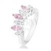 Ezüst színű gyűrű, átlátszó és rózsaszín cirkóniás szemek