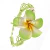 Világoszöld fonott zsinóros karkötő virággal
