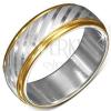 Acél gyűrű arany színű szélekkel és átlós sávokkal