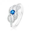 925 ezüst gyűrű, kék cirkónia, fonott hullámos vonalak