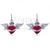 Függő fülbevaló 925 ezüstből, piros szárnyas szív koronával