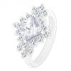 Ezüst színű gyűrű, átlátszó négyzet cirkónia, kerek átlátszó cirkóniák