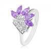 Fényes ezüst színű gyűrű, átlátszó cirkóniák, lila csiszolt szemek