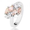Csillogó ezüst színű gyűrű, világosbarna cirkóniás szem, átlátszó cirkóniák