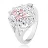 Gyűrű ezüst színben, ovális cirkóniás virág, fényes szétágazó szárak