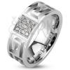 Gyűrű acélból - görögkulcs kivágások és cirkónia négyzet