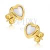 Arany fülbevaló - kétszínű szabályos szív, fényes lekerekített felszín