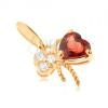 585 arany medál - masni, piros gránáttal és átlátszó cirkóniákkal díszítve