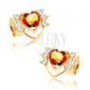 Fülbevaló 14K sárga aranyból - vékony szív kontúr cirkóniákkal, sárga citrin