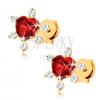 585 arany fülbevaló - szívecskés gránát piros színben, átlátszó cirkóniák