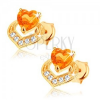 Fülbevaló 14K sárga aranyból - két egymást fedő szív, sárga citrin