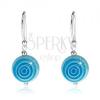 925 ezüst fülbevaló, kék-fehér golyók, kör kontúrok, 10 mm