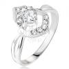 Gyűrű - kerek, átlátszó cirkónia, 925 ezüst