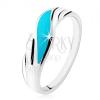 925 ezüst gyűrű, türkiz hullám, fényes hullámos vonalak az oldalakon