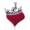 Medál 925 ezüstből - szív királyi koronával, piros cirkóniák