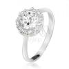 Gyűrű 925 ezüstből, kerek átlátszó kő cirkóniás szegéllyel