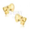 Csillogó arany fülbevaló - szabálytalan szivek, sugaras vésetek