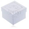 Gyöngyházfényű ajándékdoboz fülbevalóra - ezüst színű keresztelési motívum