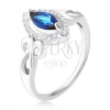 Gyűrű - kék szemecskés cirkónia, átlátszó szegély, csavart sávok 925 ezüst