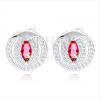 Fülbevaló, 925 ezüst, cirkóniás magszem rózsaszín színben, csillogó keret, ezüst kivágás