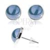 Bedugós fülbevaló, cabochon, kék fénymáz