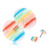 Hamis plug fülbe, kidomborodó, átlátszó kerekek, színes sávokkal