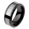 Fényes wolfrám gyűrű, kétszínű, geometriai csiszolt felszín