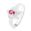 925 ezüst gyűrű, csúcsos könnycsepp körvonal, rózsaszín cirkónia, V betűs vonal