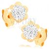Fülbevaló 9K sárga aranyból - csillogó virág fényes kerettel, Swarovski kristályok