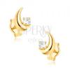 375 arany fülbevaló - csillogó félhold, kerek, átlátszó cirkónia