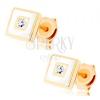 585 arany fülbevaló - négyzet fehér fénymázzal díszítve, átlátszó cirkónia