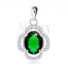 925 ezüst medál, virág - ovális zöld cirkónia, átlátszó kövekkel kirakott szirmok