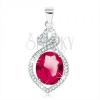 925 ezüst medál, pirosasrózsaszín ovális cirkónia, búzaszem és átlátszó szívecske körvonal