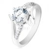 Eljegyzési gyűrű 925 ezüstből, kettős szárak, kerek átlátszó cirkónia