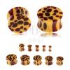 Nyerges fültágító akrilból, narancs szín, barna foltok - leopárd minta