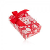 Piros doboz fülbevalóra és gyűrűre vagy medálra, szív és masni mintával