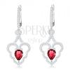 Csillogó fülbevaló, 925 ezüst, hullámos szív körvonal, rózsaszín könnycsepp dísszel