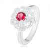 925 ezüst gyűrű, virág sötétrózsaszín cirkóniával és hullámos vonalakkal