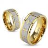 Acél karikagyűrű arany és ezüst színben, matt sáv, keresztek, 6 mm