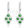 925 ezüst fülbevaló, lekerekített rombusz, átlátszó és zöld cirkóniákkal