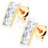 Fülbevaló 14K aranyból - szélesebb sáv négyzetes, átlátszó cirkóniákkal kirakva