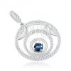 925 ezüst medál, három körvonal, kör alakú kék cirkónia