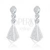 925 ezüst fülbevaló, csillogó cirkóniák - piramis, három, kerek cirkónia