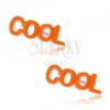 925 ezüst fülbevaló, narancssárga COOL felirat, stekker