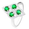 925 ezüst gyűrű, gömbölyített rombusz, négy zöld cirkónia, átlátszó szegély