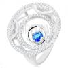 Gyűrű 925 ezüstből, három kör, fényes és csillogó vonalak, kerek, kék cirkóniával
