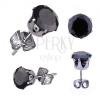 Fülbevaló sebészeti acélból, ezüst szín, fekete kerek cirkónia, 4 mm